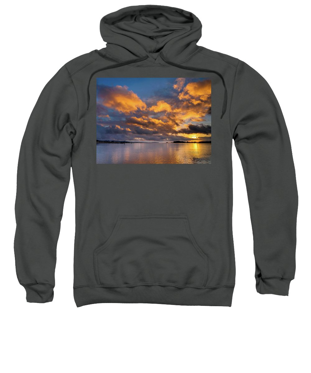 Humboldt Bay Sweatshirt featuring the photograph Reflections On Fire Sunset by Greg Nyquist