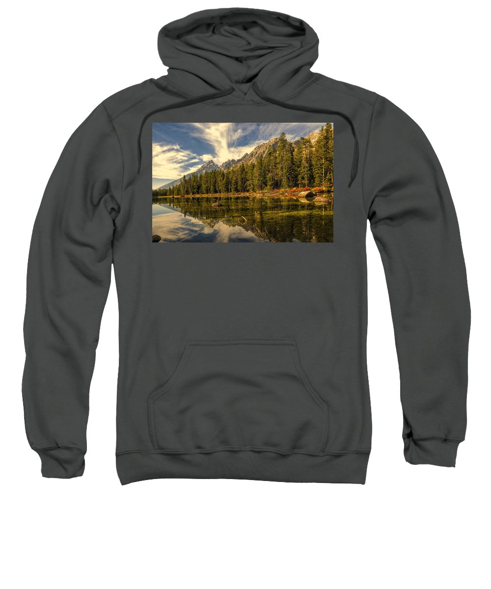 Altitude Sweatshirt featuring the photograph Reflections On Jenny Lake by Maria Coulson