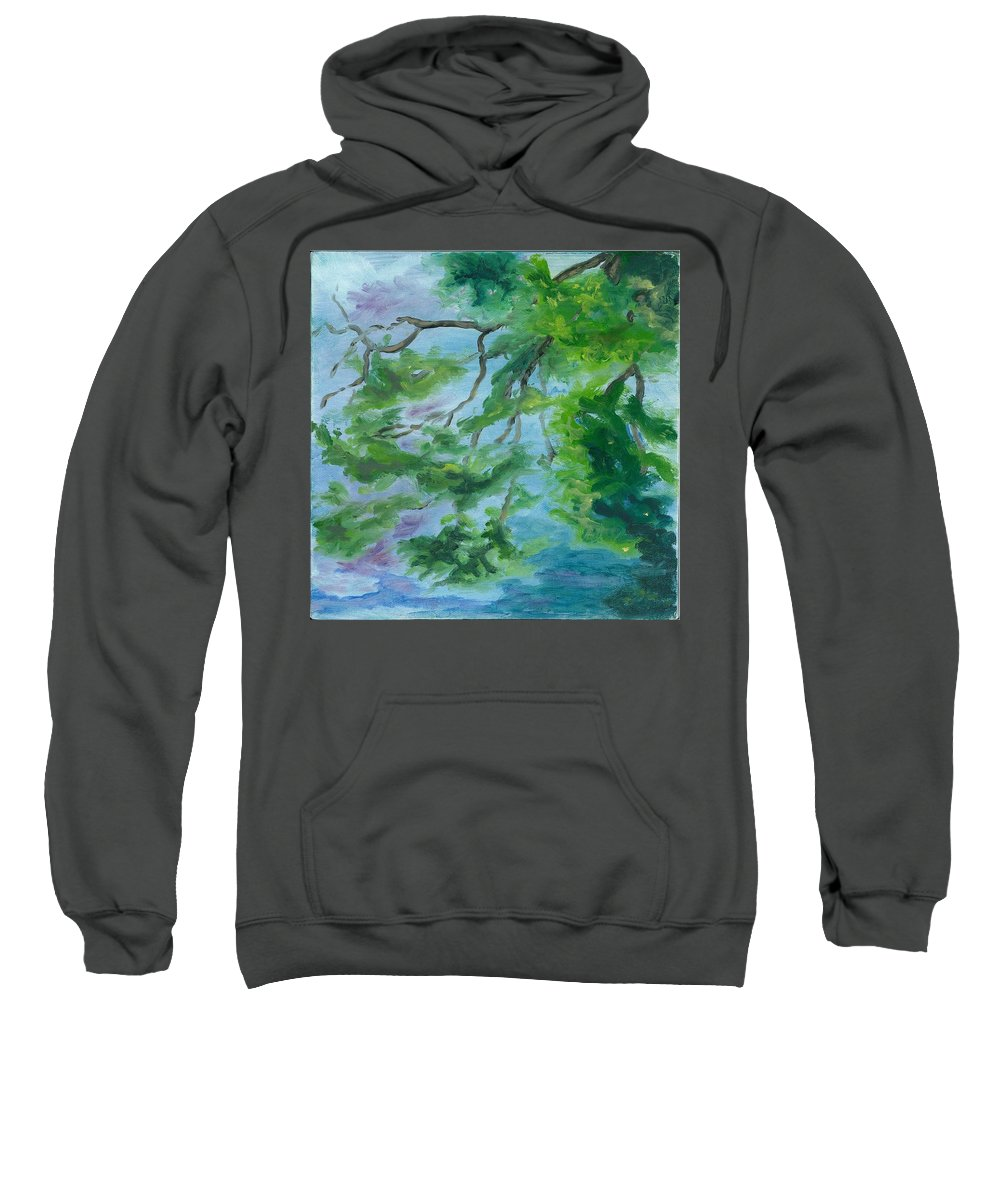 Reflections Sweatshirt featuring the painting Reflections On The Mill Pond by Paula Emery