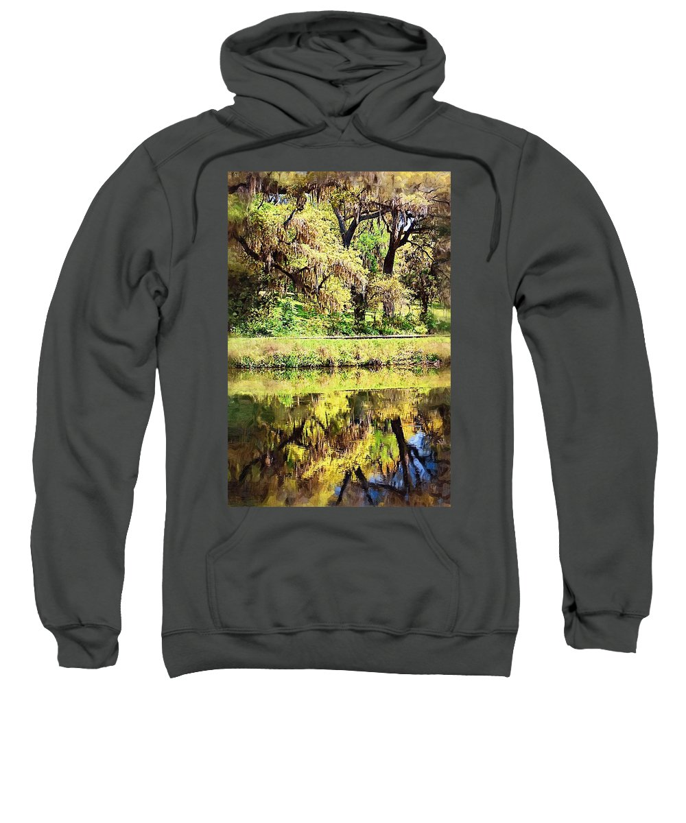 Landscape Sweatshirt featuring the photograph Reflective Live Oaks by Donna Bentley