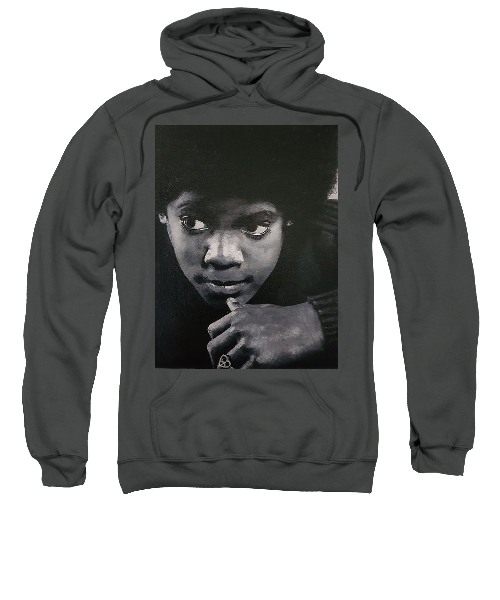 Michael Jackson Sweatshirt featuring the painting Reflective Mood by Cassy Allsworth