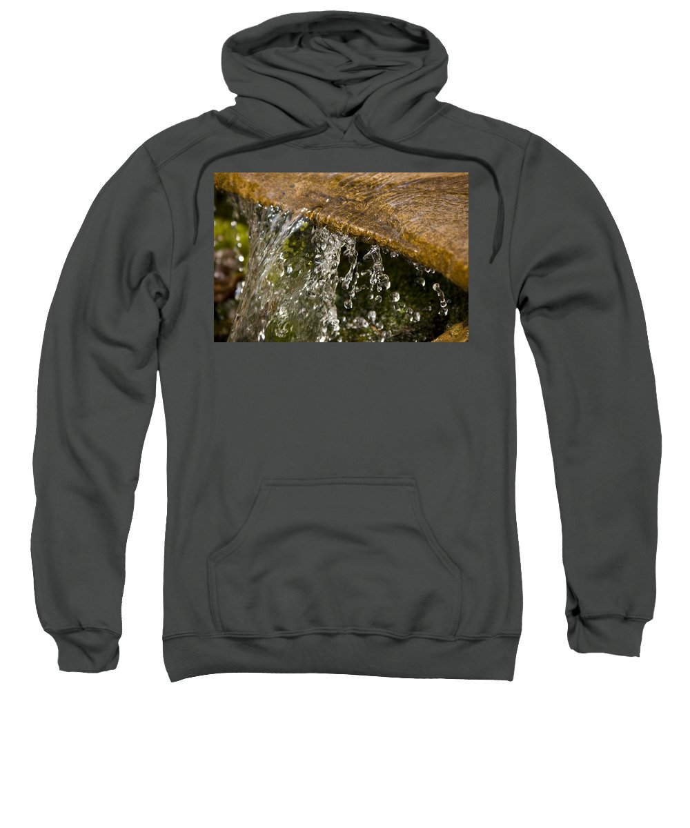 Water Stream Creek Drop Droplet Stone Run Nature Clear Cold Fall Sweatshirt featuring the photograph Refreshment by Andrei Shliakhau
