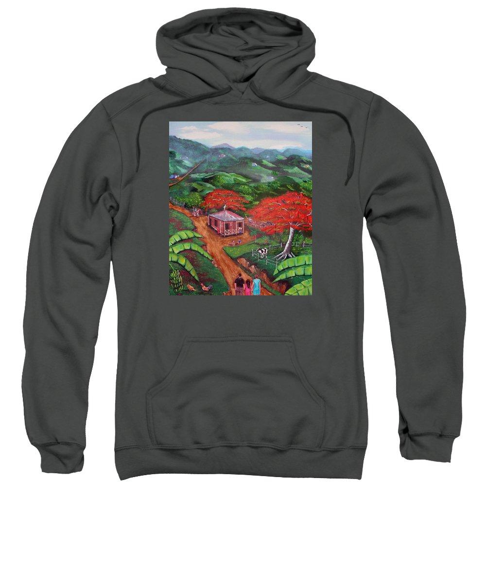 Flamboyan Sweatshirt featuring the painting Regreso al Campo by Luis F Rodriguez