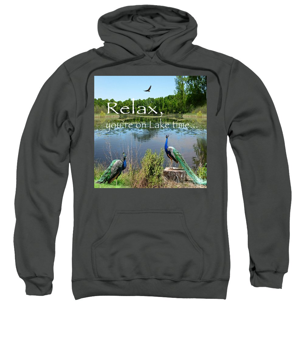 Lake Shore Sweatshirt featuring the painting Relax Lake Time-jp2737 by Jean Plout