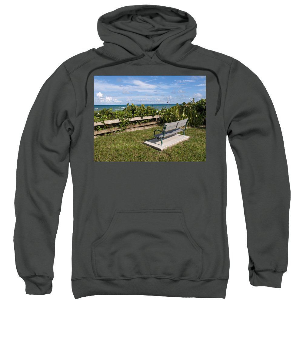 Bench; Public; Florida; Melbourne; Beach; Coast; Shore; Surf; Sand; Brevard; Space; Ocean; Sea; Atla Sweatshirt featuring the photograph Reserved For A Visitor To East Coast Florida by Allan Hughes