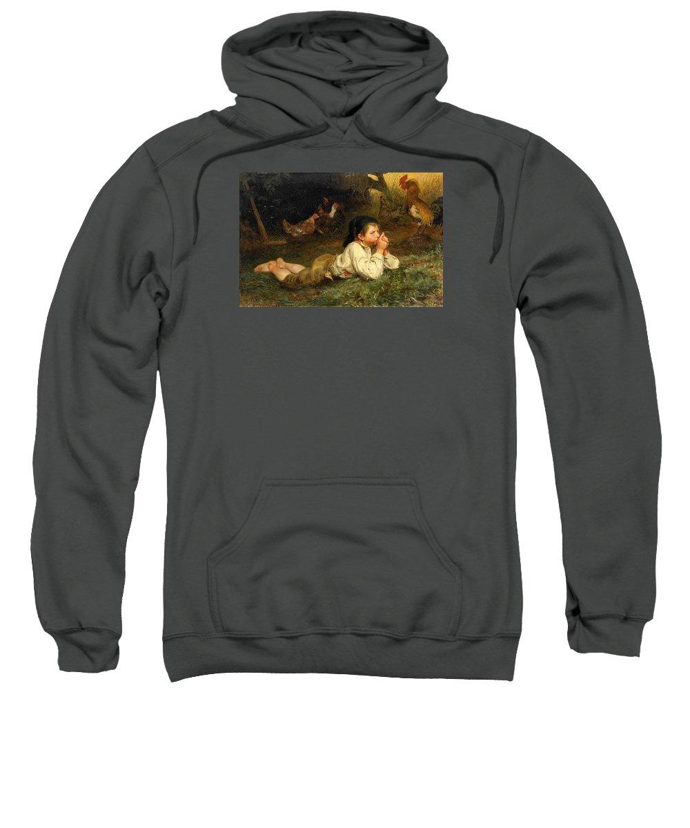 Felix Schlesinger Sweatshirt featuring the painting Rest In The Henhouse by Felix Schlesinger