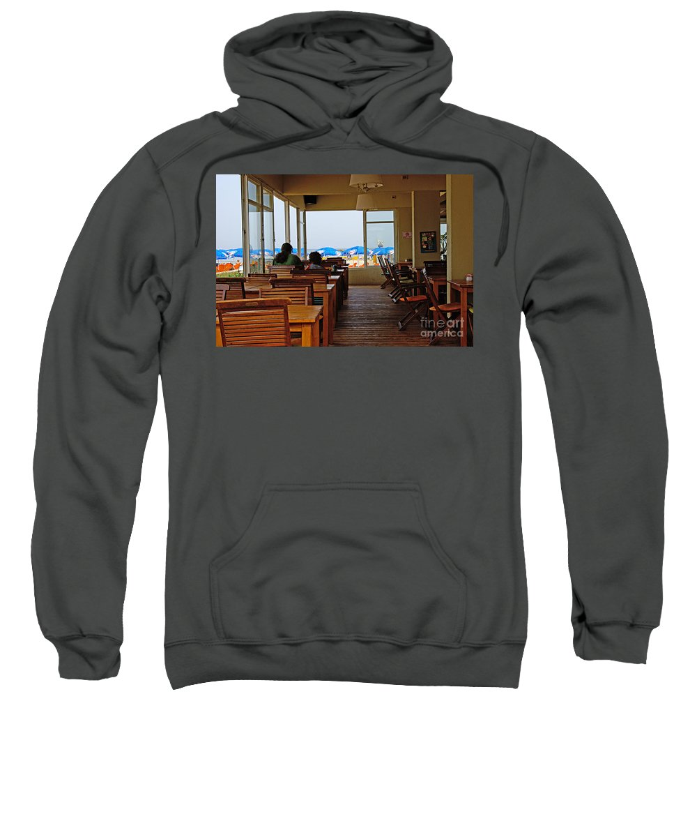 Beach Sweatshirt featuring the photograph Restaurant On A Beach In Tel Aviv Israel by Zal Latzkovich