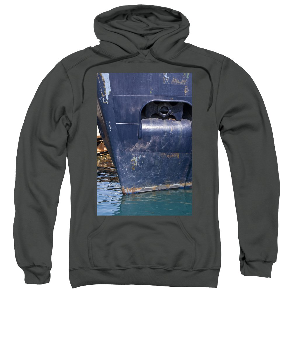 Chicago Windy City Lake Michigan Ship Boat Wave Reflection Water Steel Metal Blue Sun Sunny Sweatshirt featuring the photograph Resting by Andrei Shliakhau