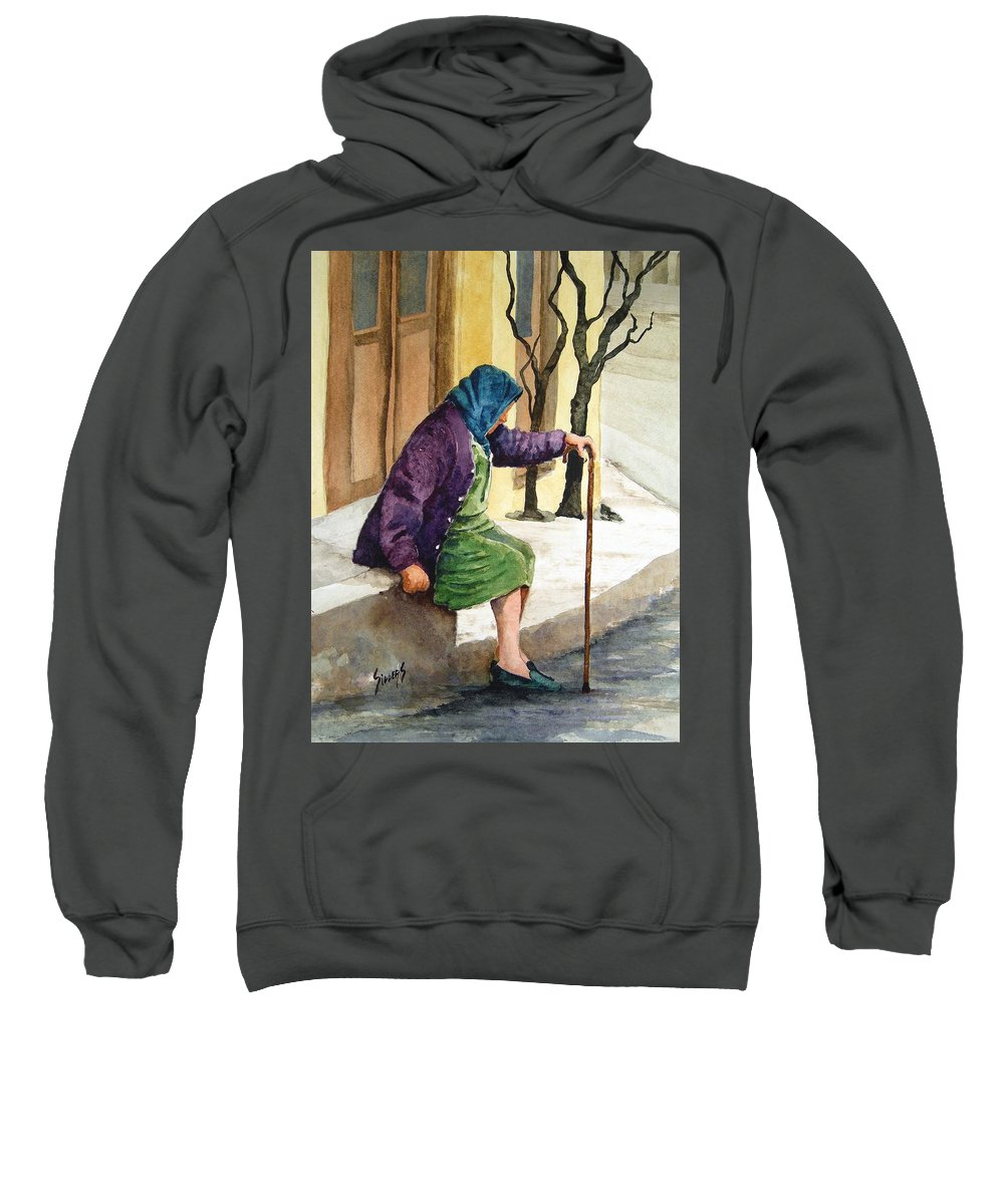 Old Lady Sweatshirt featuring the painting Resting by Sam Sidders