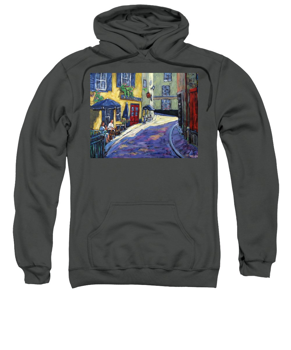 Restaurant Sweatshirt featuring the painting Resto Le Cochon Dingue In Old Quebec by Richard T Pranke