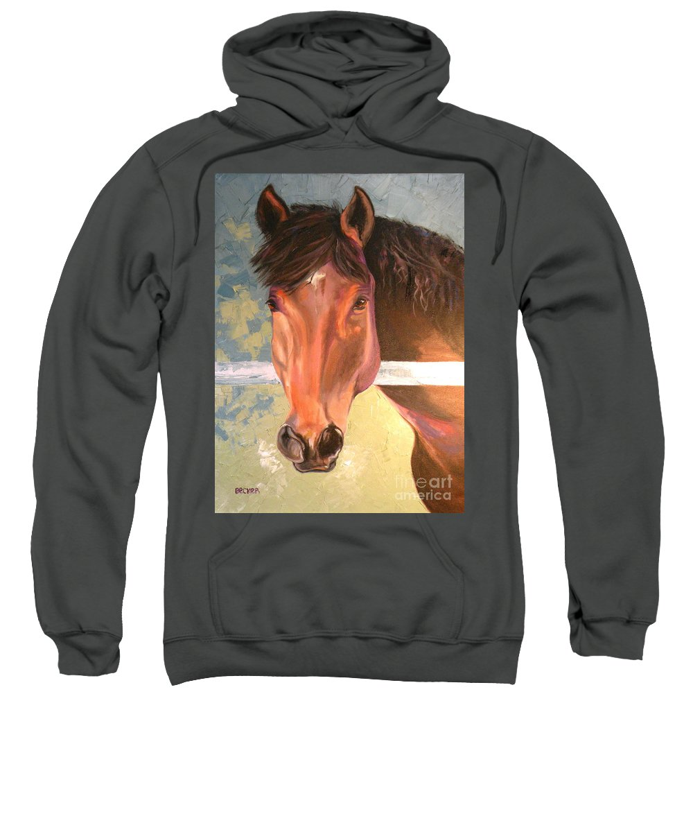 Horse Sweatshirt featuring the painting Reverie - Quarter Horse by Susan A Becker