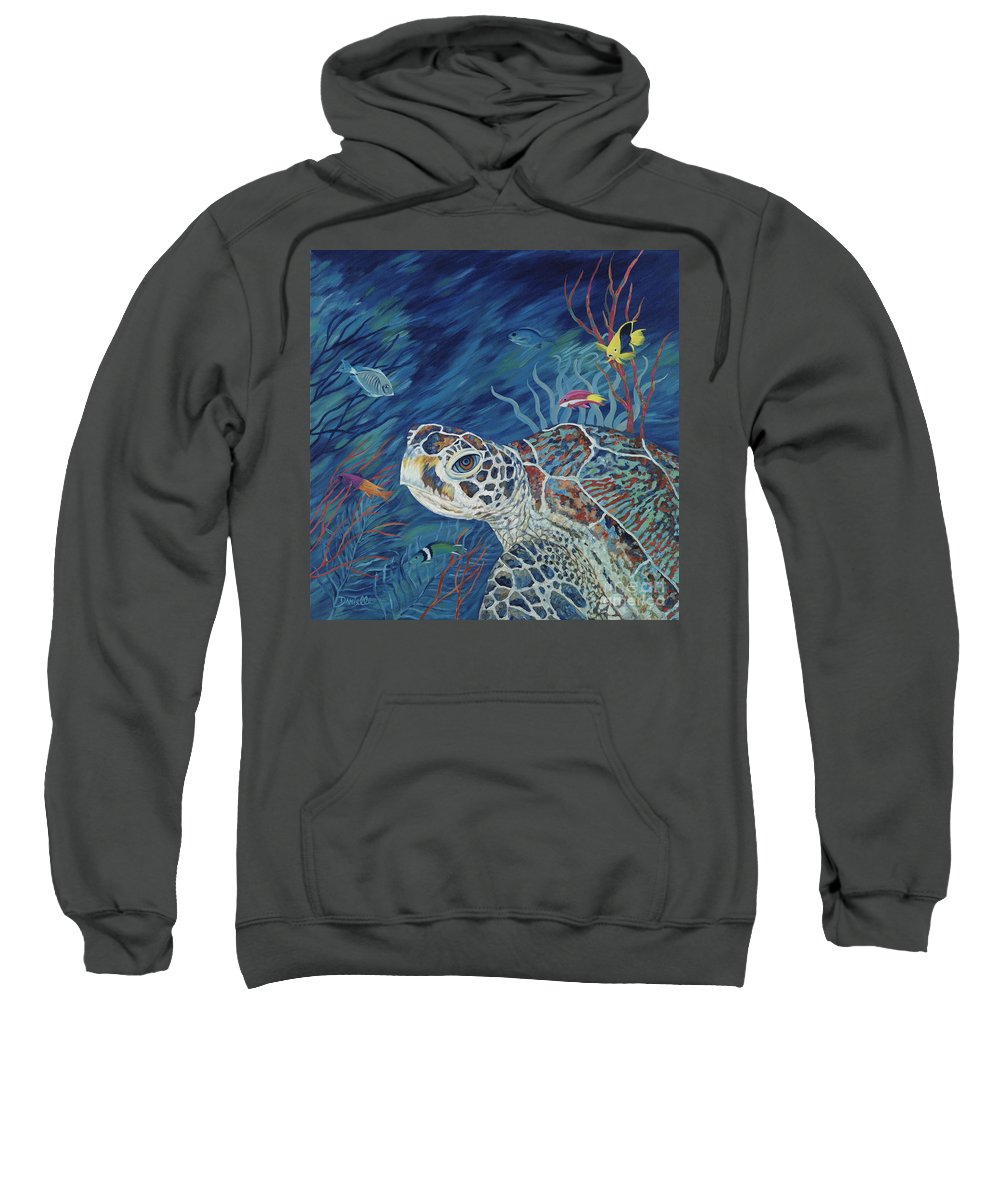 Green Sea Turtle Sweatshirt featuring the painting Rhapsody In Blue by Danielle Perry