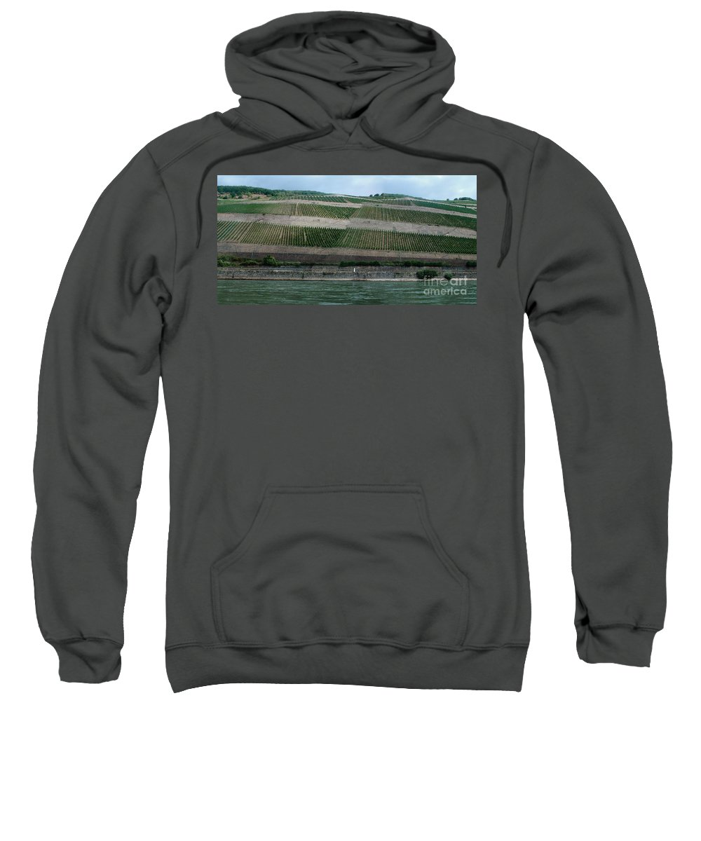 Rhine Sweatshirt featuring the photograph Rhine Valley Vineyards Panorama by Thomas Marchessault