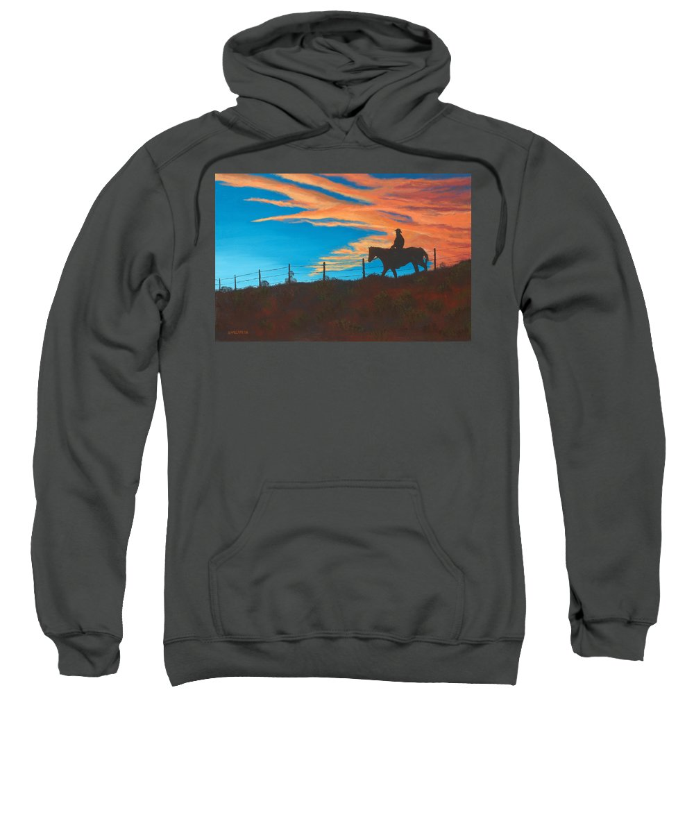 Cowboy Sweatshirt featuring the painting Riding Fence by Jerry McElroy