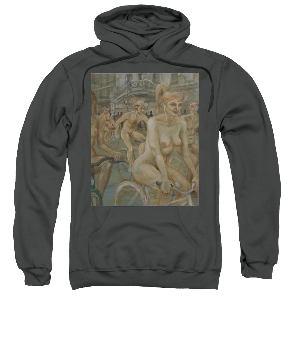 Nude In Motion Sweatshirt featuring the painting Riding Passed Burlington Arcade In June by Peregrine Roskilly