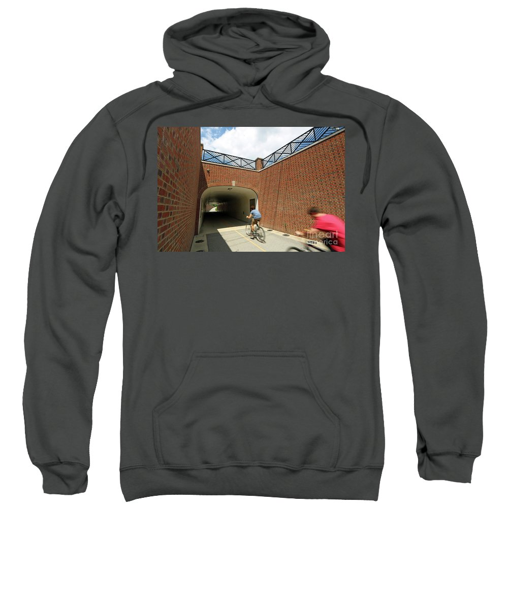 Monon Sweatshirt featuring the photograph Riding The Rail Trail In Carmel, Indiana by Steve Gass