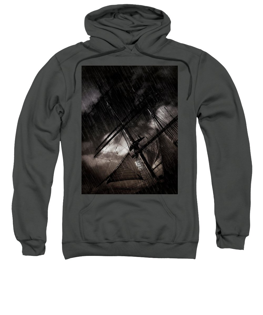 Ship Sweatshirt featuring the photograph Riding The Storm by Scott Fracasso