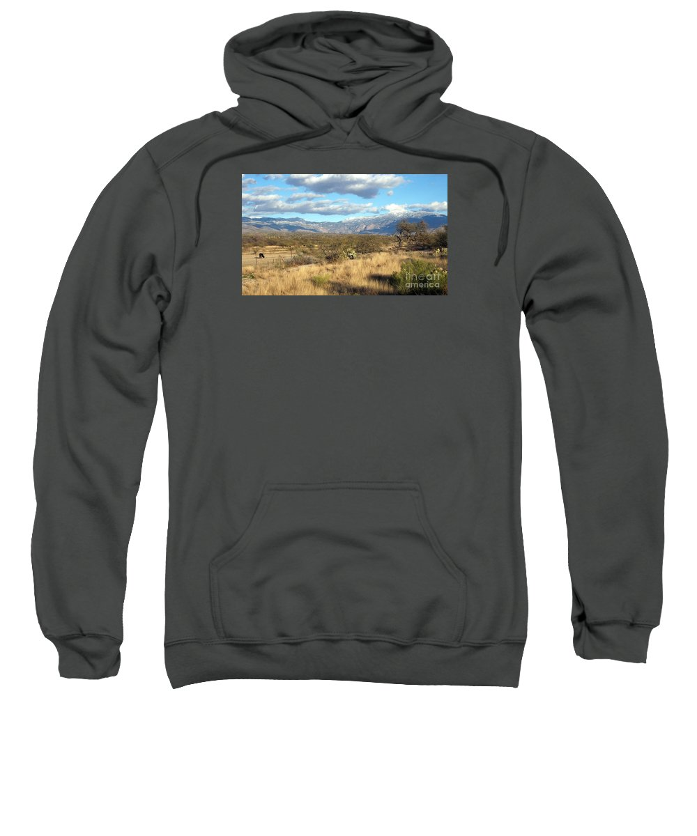 Rincon Mountains Landscape Sweatshirt featuring the photograph Rincon Valley Winter by Jerry Bokowski