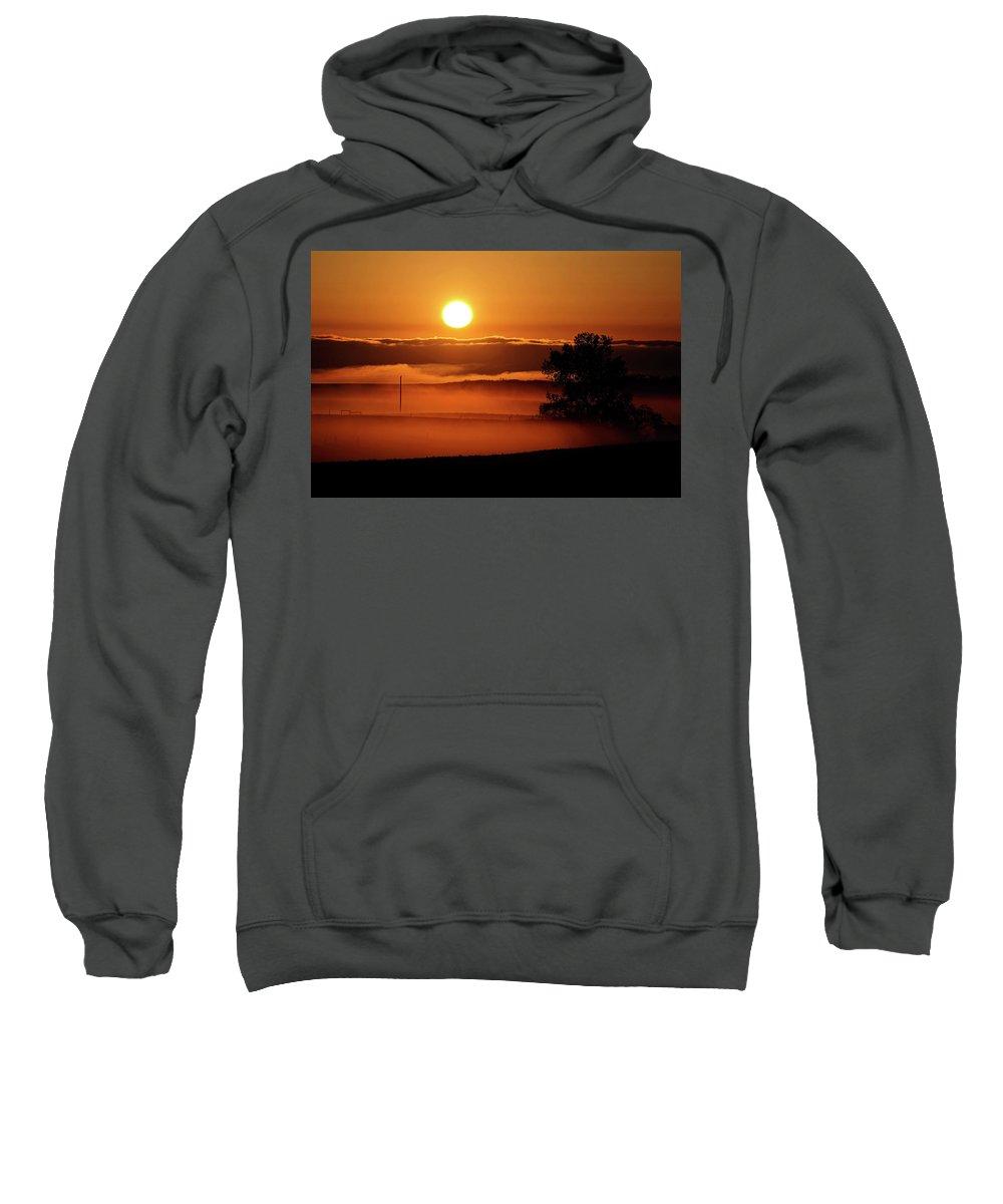 Sweatshirt featuring the digital art Rising Sun Lighting Ground Fog by Mark Duffy