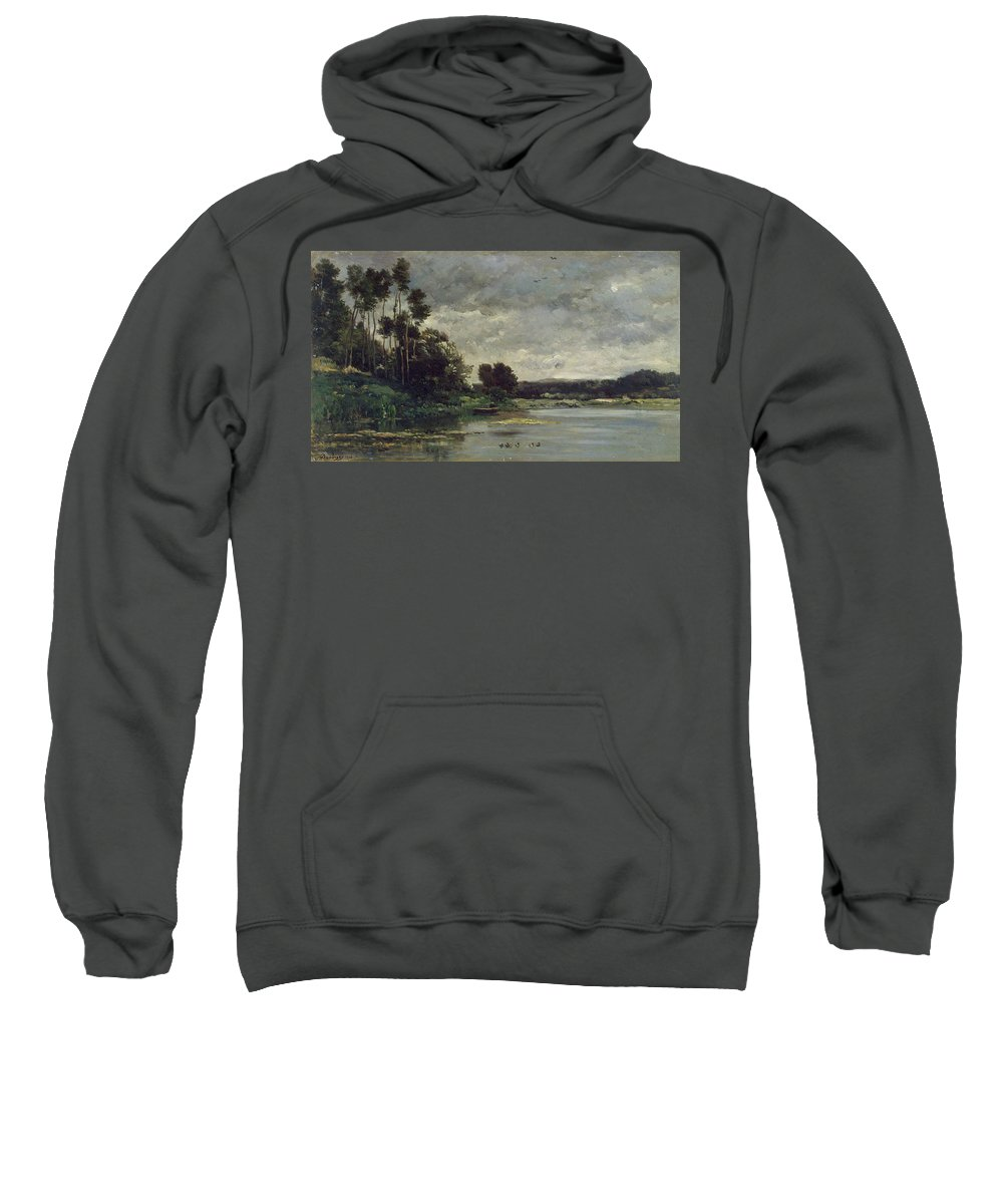 Animal Sweatshirt featuring the painting River Bank by Charles-Francois Daubigny