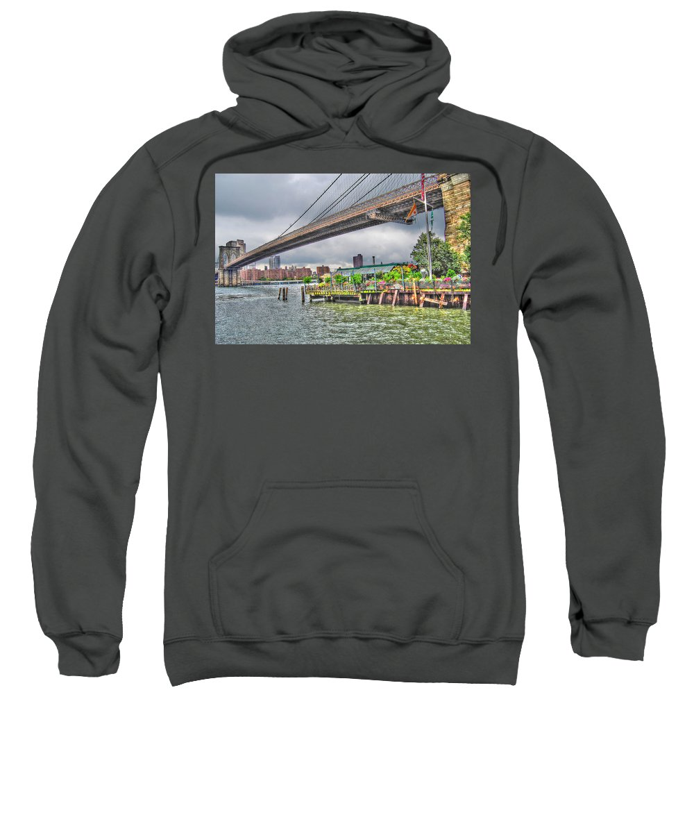 River Cafe Sweatshirt featuring the photograph River Cafe by Randy Aveille