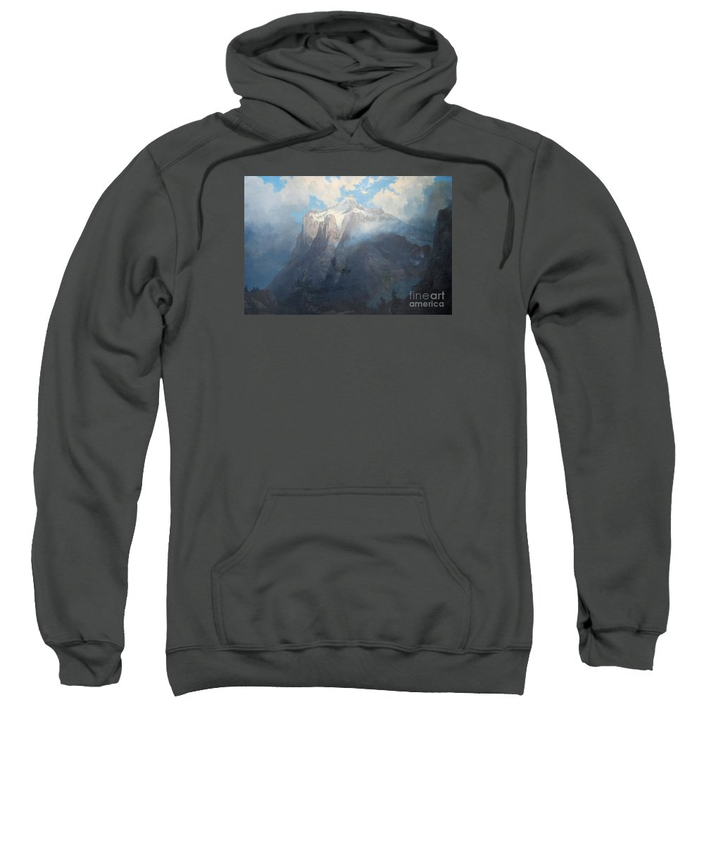Albertbierstadt-mountbrewerfromking's_rivercanyon Sweatshirt featuring the painting River Canyon by Celestial Images