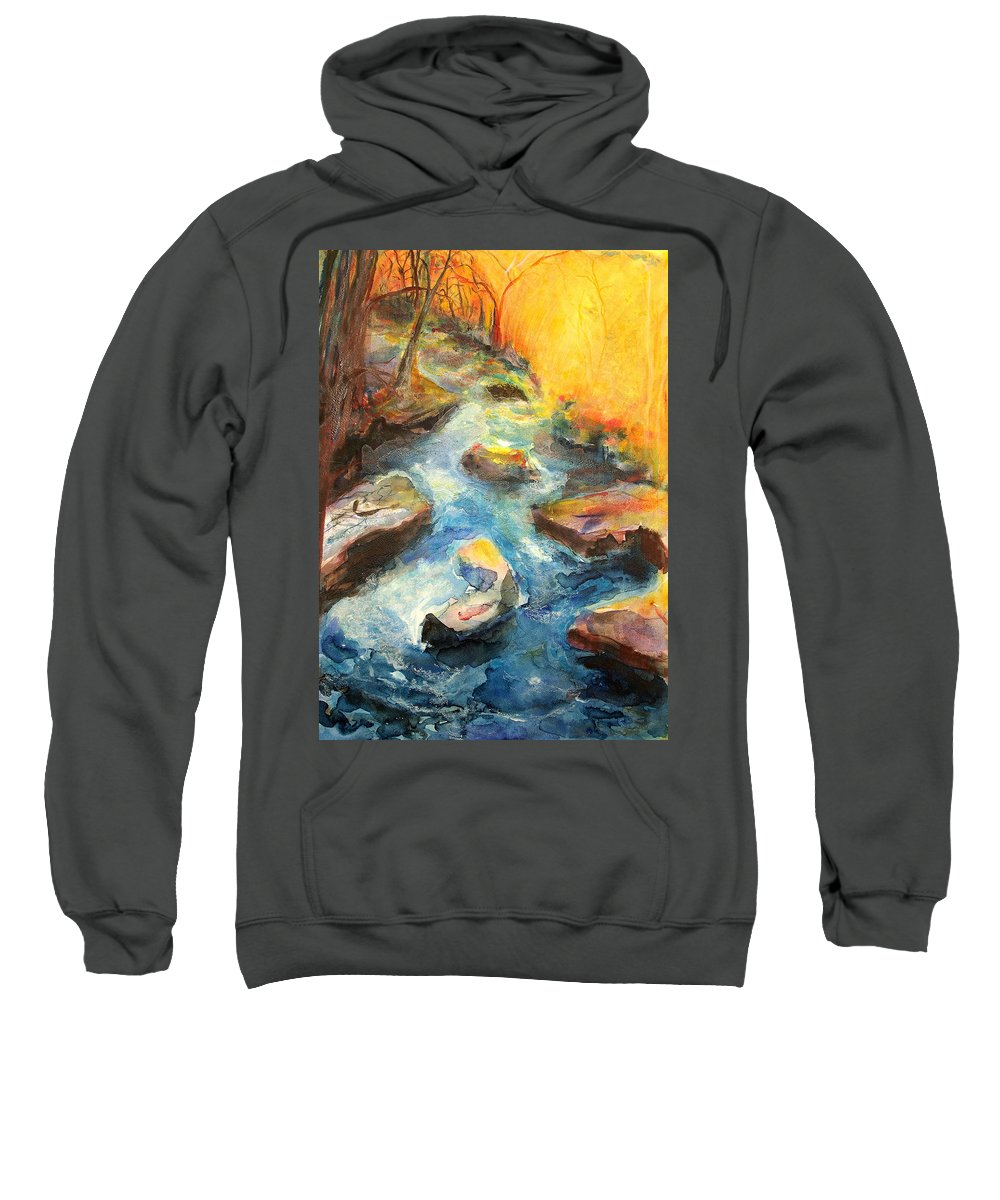 River Sweatshirt featuring the painting River Fire by Andrea Turner