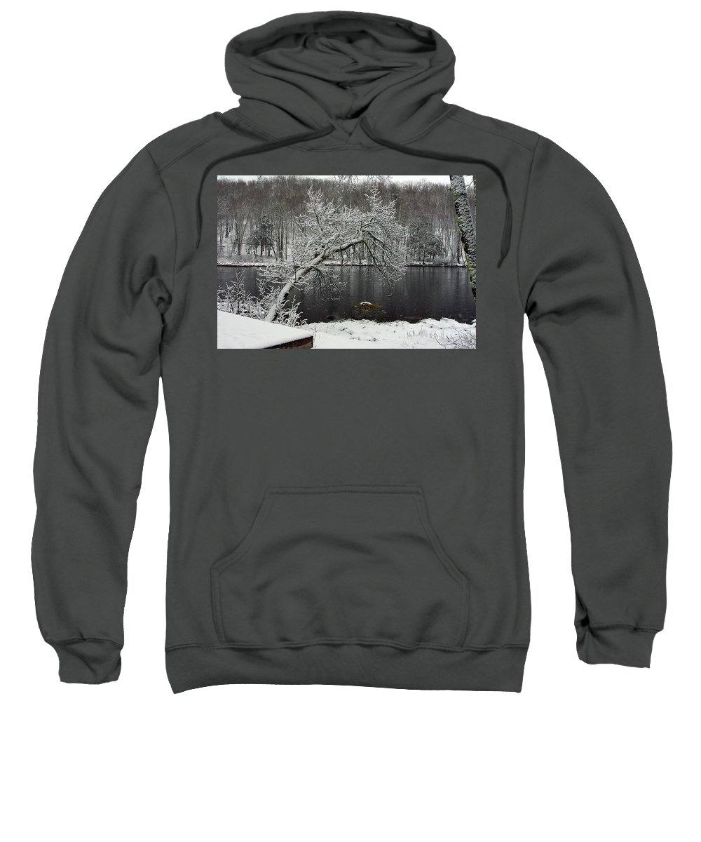 Winter Sweatshirt featuring the photograph River In The Winter by Alice Markham