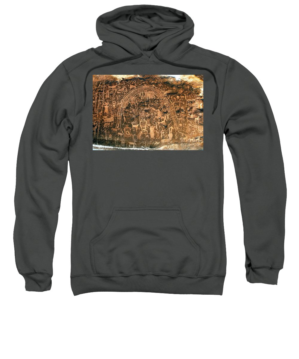 Petroglyphs Sweatshirt featuring the photograph River Of Dreams by David Lee Thompson