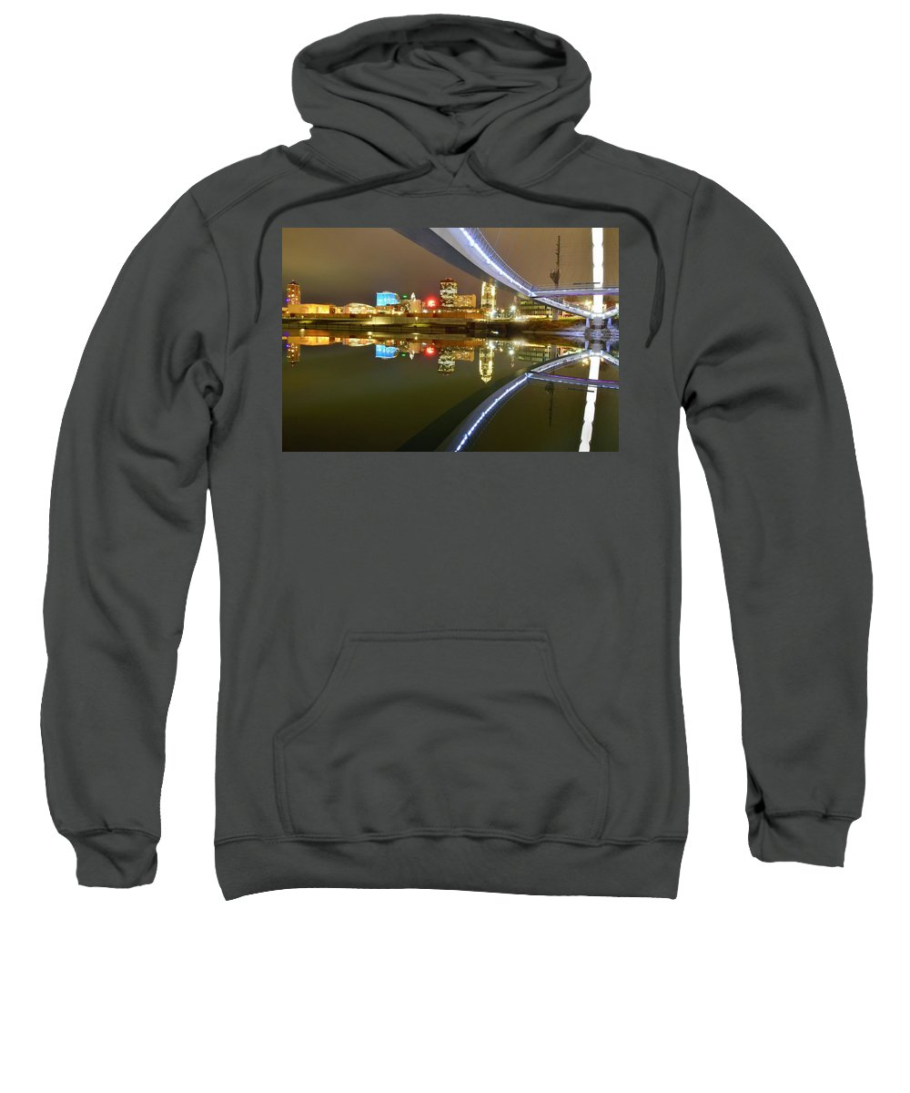 Des Moines Sweatshirt featuring the photograph River Reflections by Justin Langford