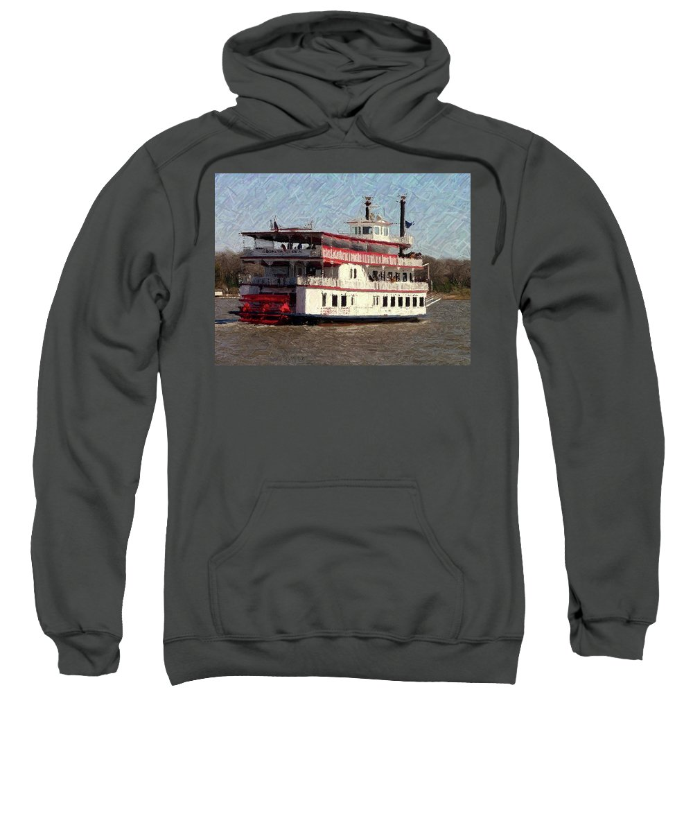 Riverboat Sweatshirt featuring the photograph Riverboat Queen - Digital Art by Al Powell Photography USA
