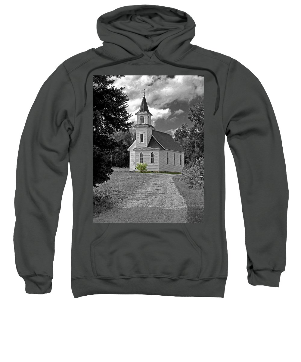 Country Church Sweatshirt featuring the photograph Riverside Presbyterian Church 1800s Bw by Mark Sellers