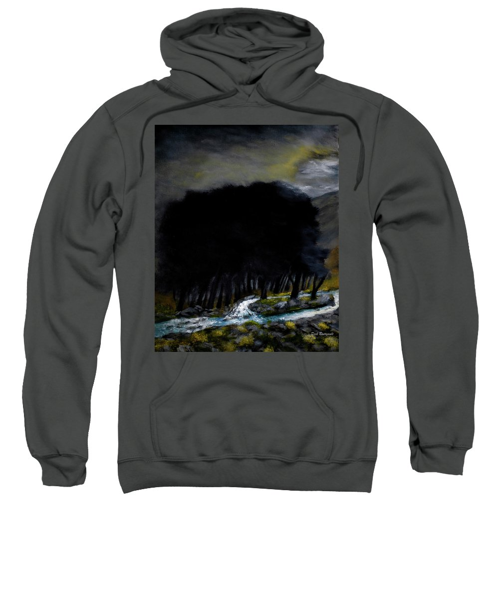 Trees Sweatshirt featuring the painting Riverside Tree Grove by Dick Bourgault