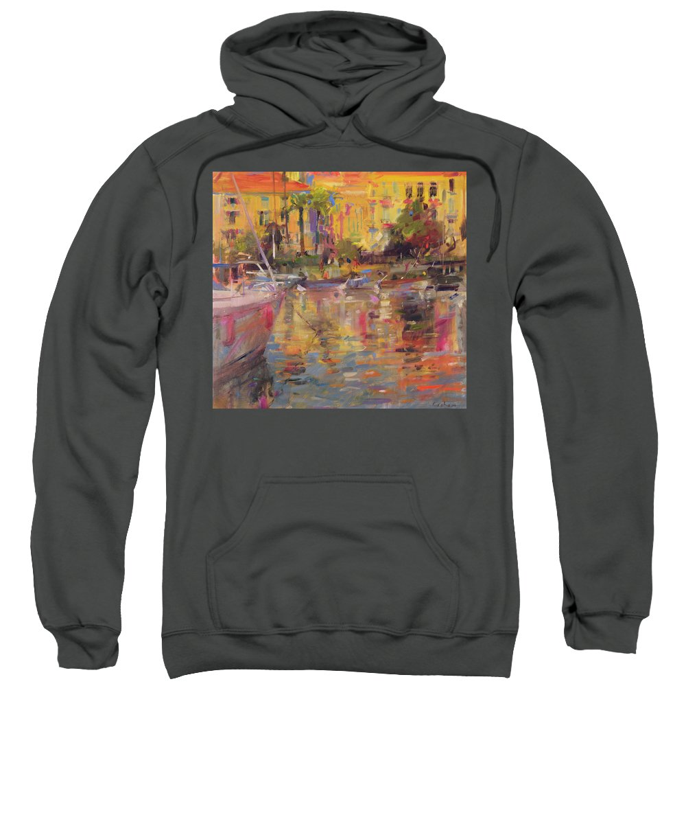 River Sweatshirt featuring the painting Riviera Moorings by Peter Graham