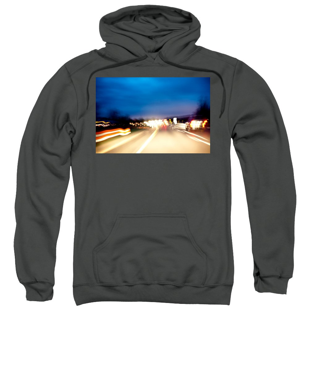 Freeway Sweatshirt featuring the photograph Road At Night 5 by Steven Dunn