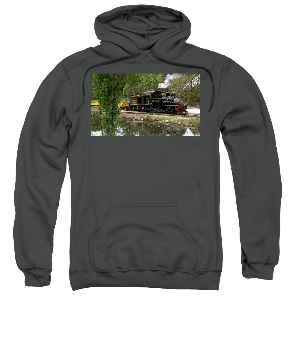 Roaring Camp Sweatshirt featuring the photograph Roaring Camp Steam Train by Michele Myers