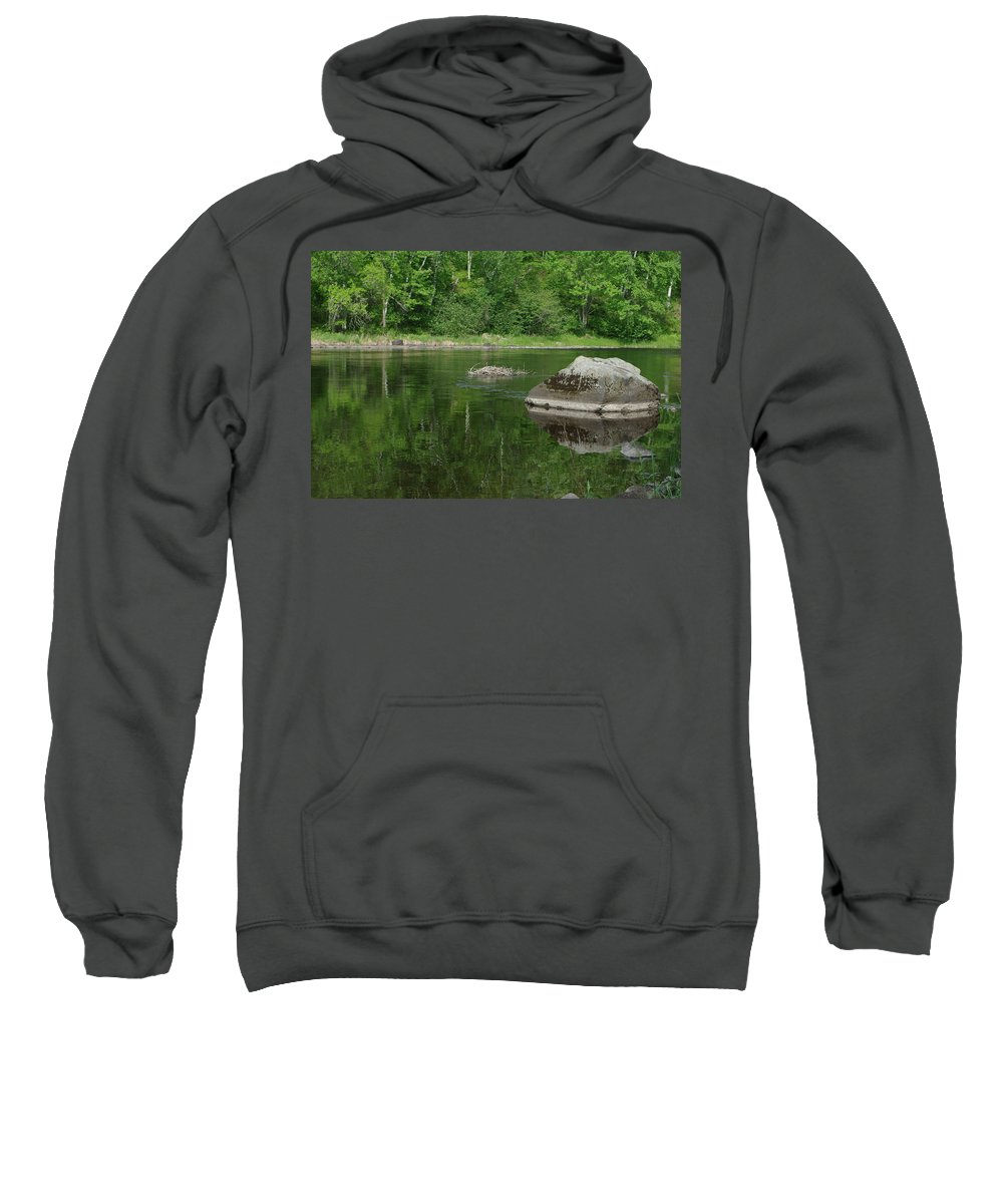 Summer Sweatshirt featuring the photograph Rock Reflection In The River by Alice Markham