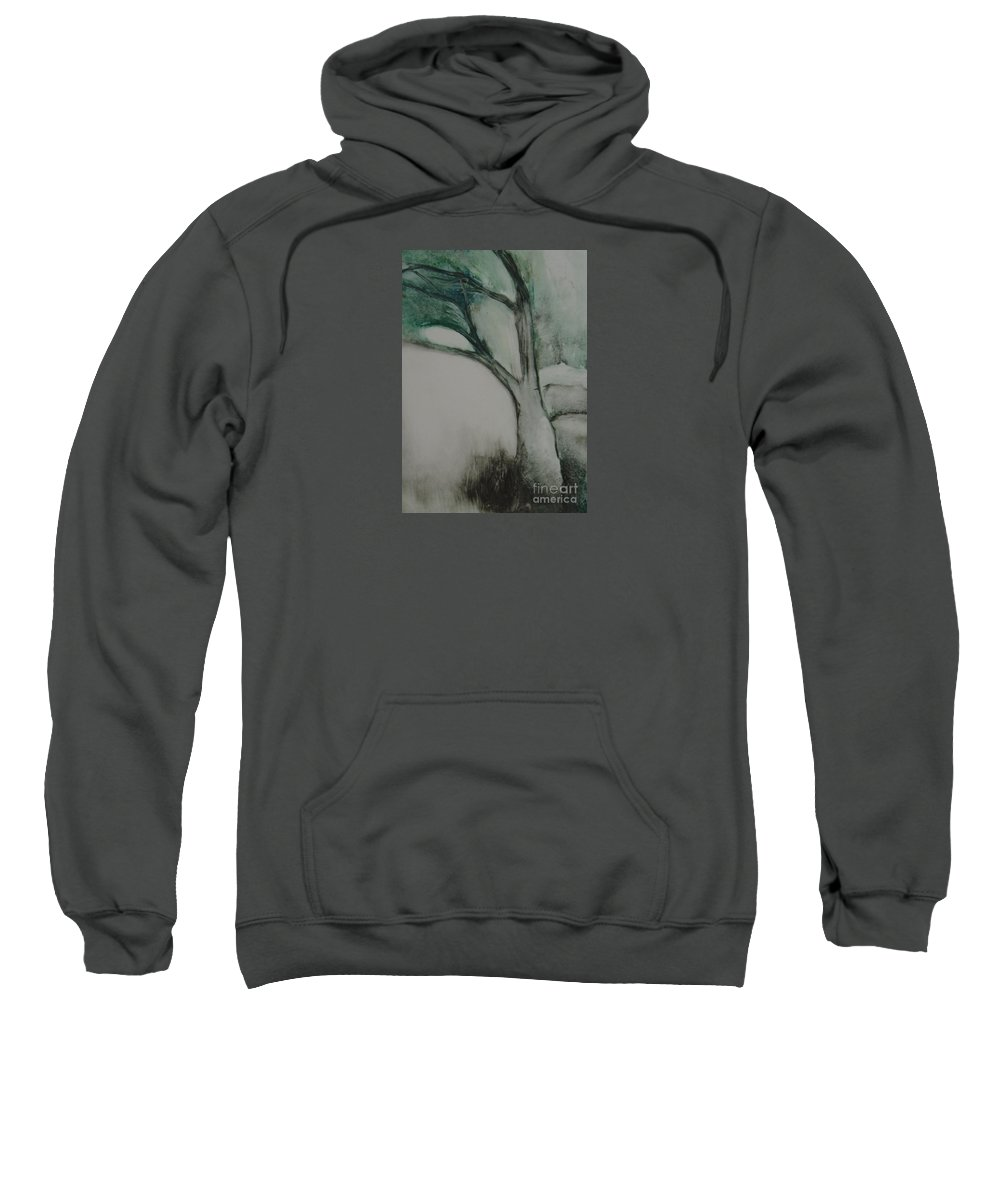 Monoprint Tree Rock Trees Sweatshirt featuring the painting Rock Tree by Leila Atkinson