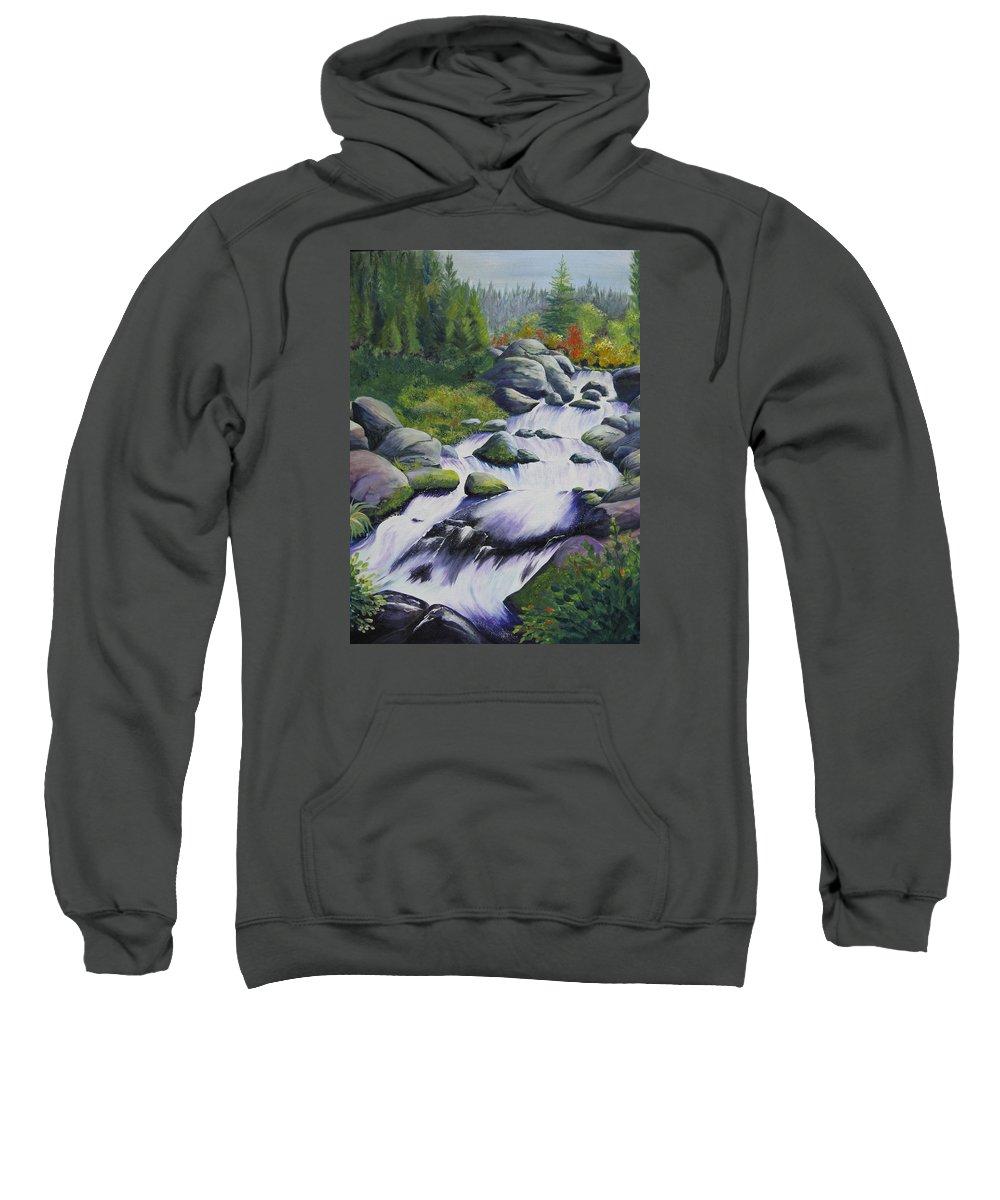 Waterfall Sweatshirt featuring the painting Rocky Creek by Karen Stark