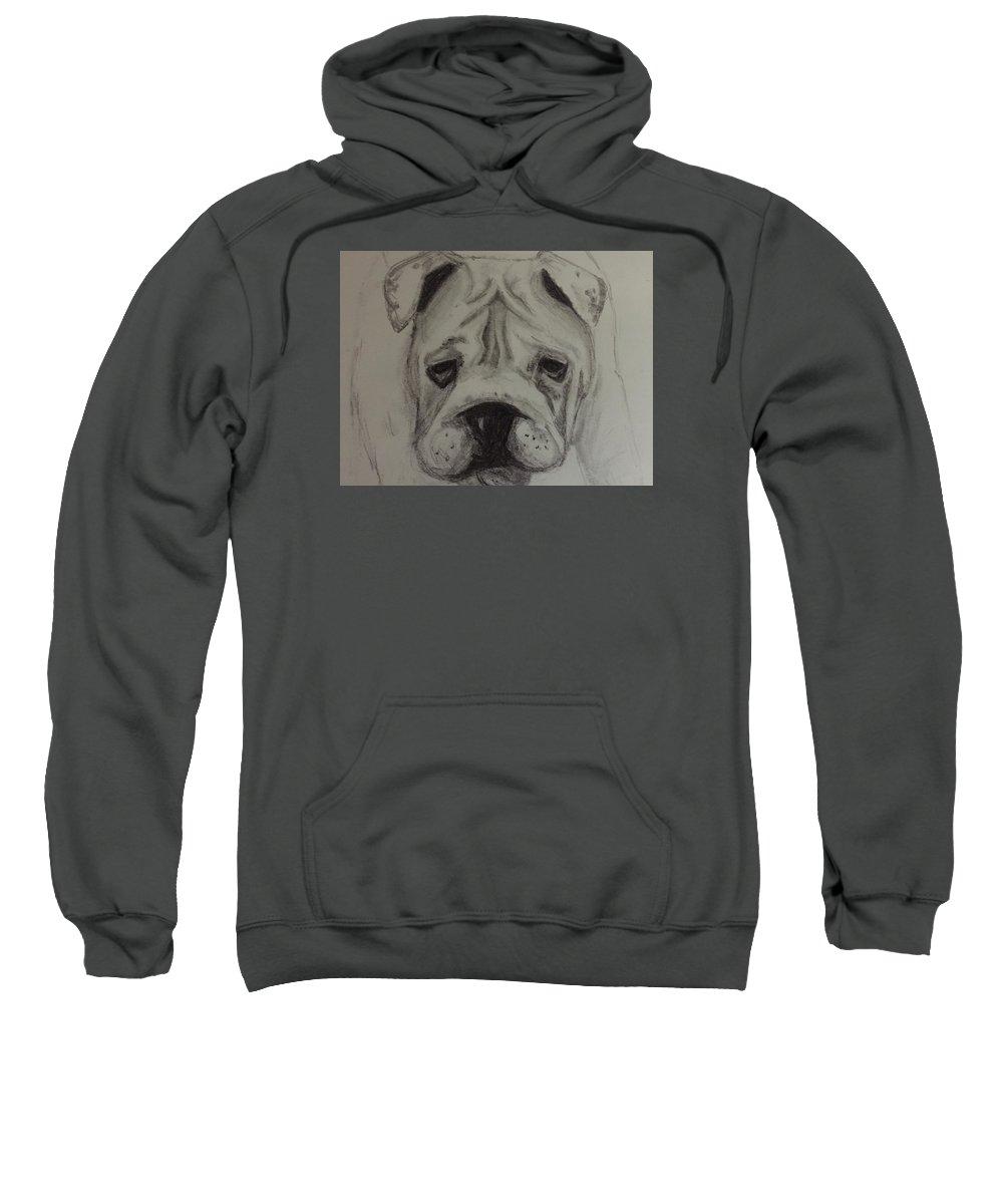 Bulldog Sweatshirt featuring the drawing Rocky by Meghan Allen