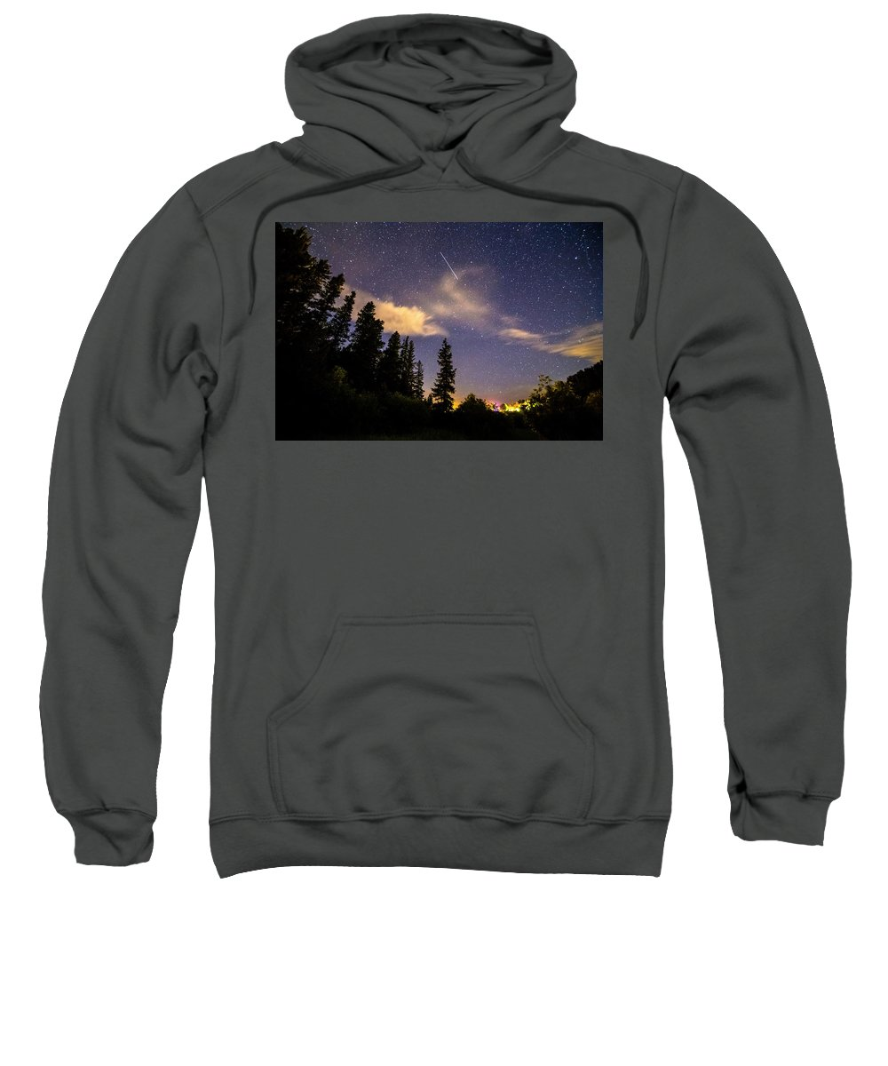 Night Sweatshirt featuring the photograph Rocky Mountain Falling Star by James BO Insogna