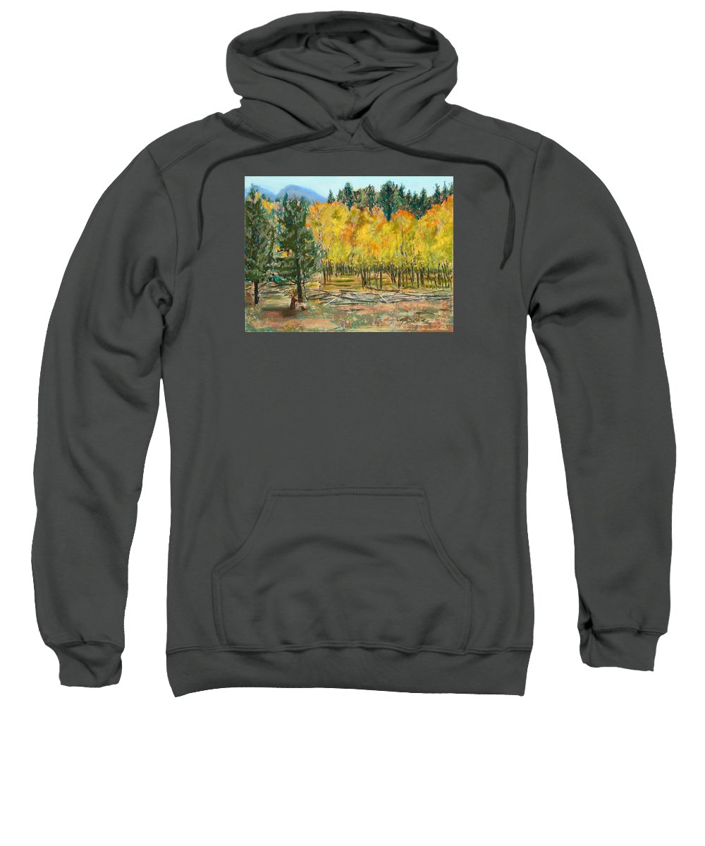 Elk Sweatshirt featuring the painting Rocky Mountain Siesta by Mary Benke