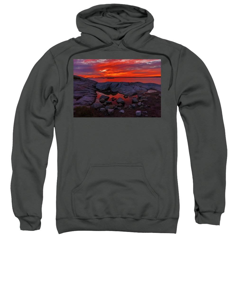 Coastline Sweatshirt featuring the photograph Rocky Shoreline At Sunset by Irwin Barrett