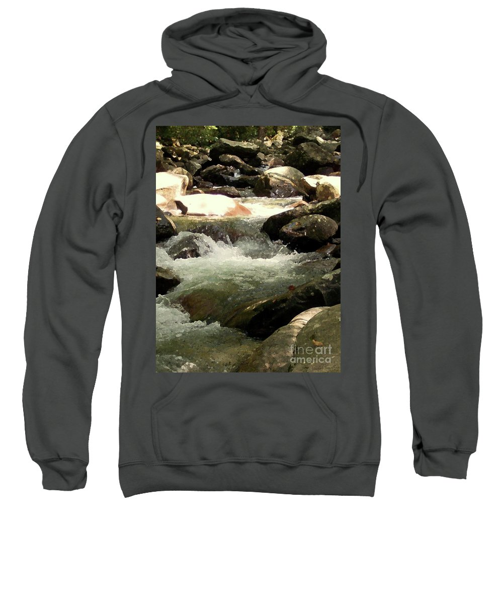 Rocky Shore Sweatshirt featuring the mixed media Rocky Stream 4 by Desiree Paquette