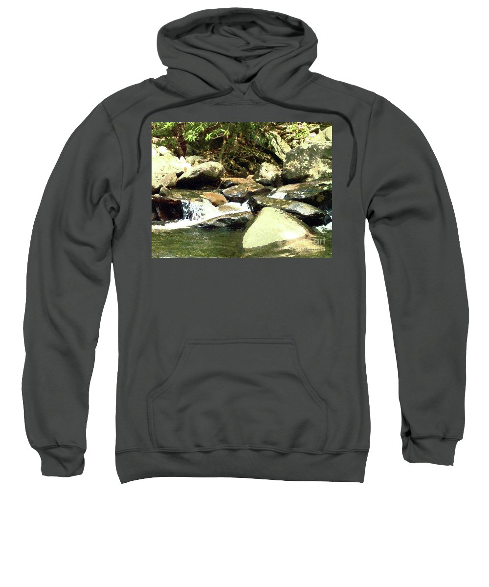 Rocky Stream Sweatshirt featuring the mixed media Rocky Stream 5 by Desiree Paquette