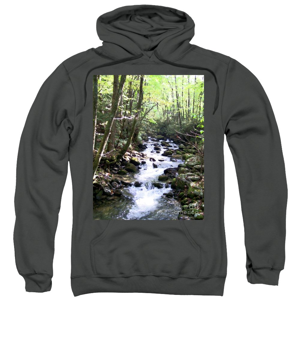 Wooded Stream Sweatshirt featuring the mixed media Rocky Stream 6 by Desiree Paquette