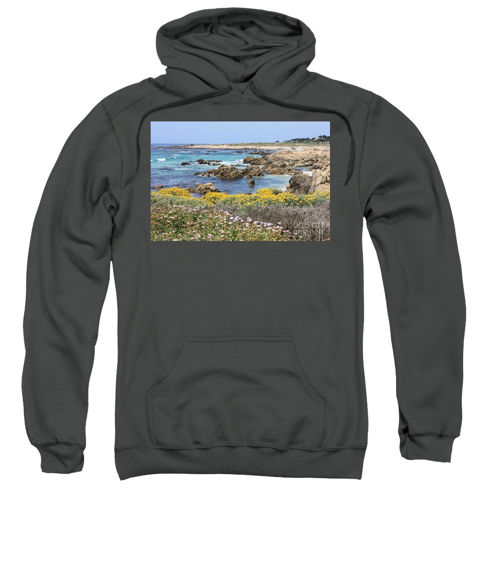 Ocean Sweatshirt featuring the photograph Rocky Surf With Wildflowers by Carol Groenen
