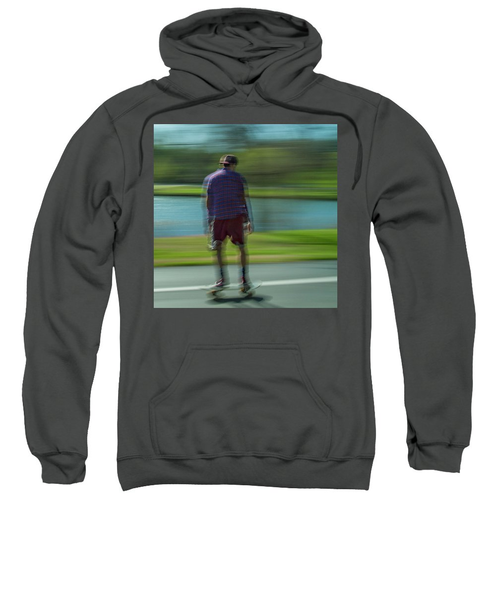 Forest Park Sweatshirt featuring the photograph Rollerbladers In Forest Park by Garry McMichael