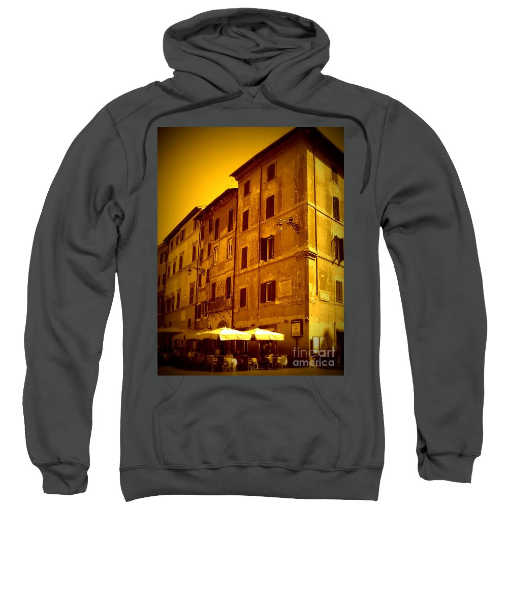 Italy Sweatshirt featuring the photograph Roman Cafe With Golden Sepia 2 by Carol Groenen