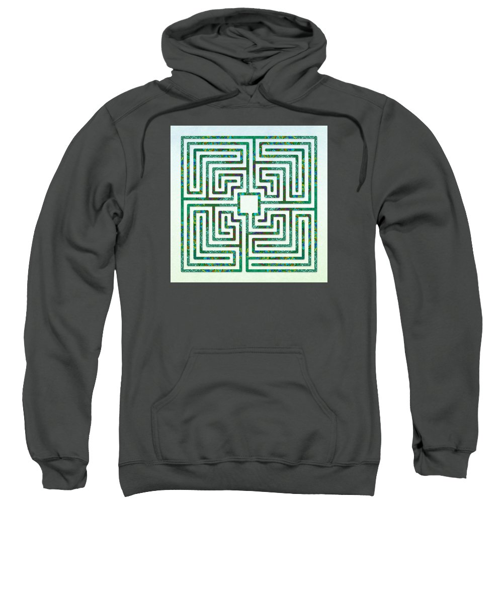 Labyrinth Art Sweatshirt featuring the digital art Roman - The Green Path by Fine Art Labyrinths
